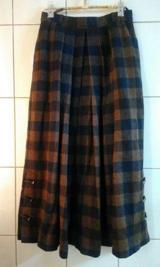 降~降 ! 古著 vintage  德國 格紋羊毛裙