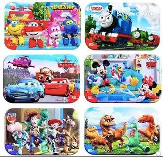 [Buy 3 Free 1] 60pcs puzzles in metal box tin puzzles wooden jigsaw puzzle learning toy birthday party goodies bags Educational Toy