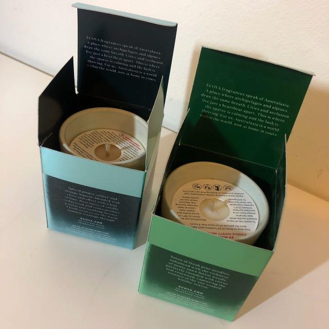 2x Ecoya Soy Wax Candles 50g - 'Fresh Pine' & 'Clove, Spiced Ginger & Lime'