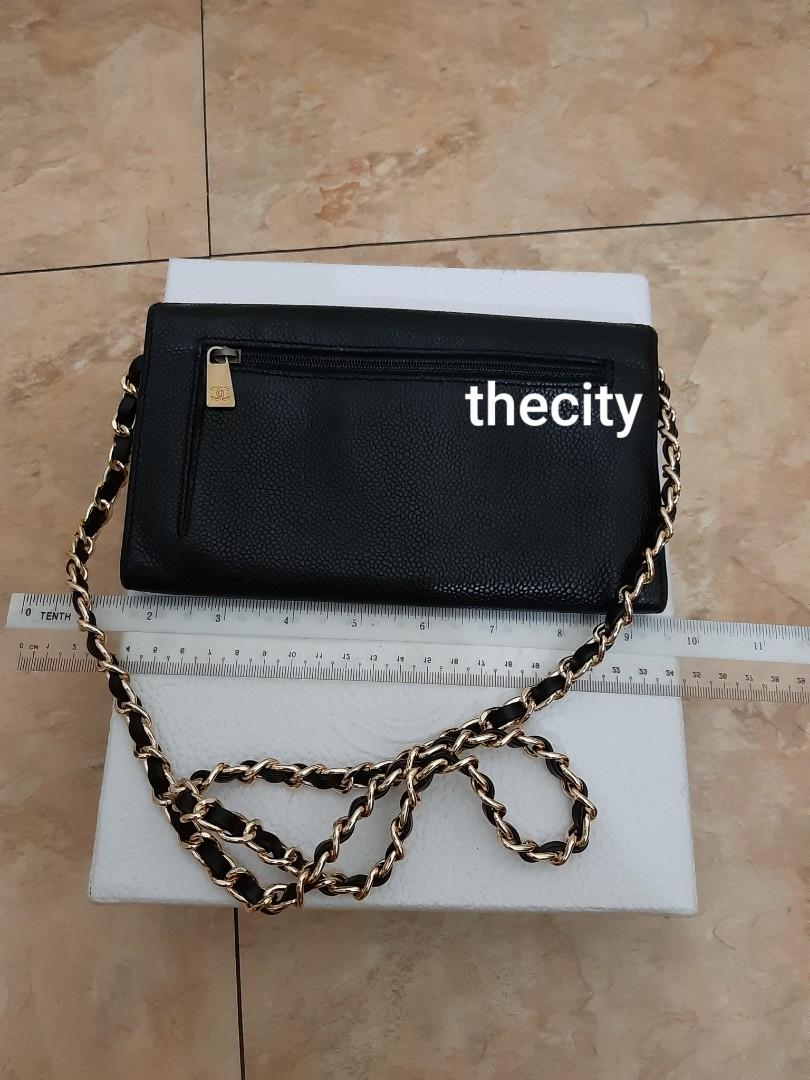 AUTHENTIC CHANEL BLACK CAVIAR LEATHER- XL ORGANIZER POUCH / WALLET- CC LOGO DESIGN - LEATHER IN GOOD CONDITION, CLEAN INTERIOR- GOLD HARDWARE- COMES WITH EXTRA ADD HOOKS & LONG CHAIN STRAP FOR CROSSBODY SLING - HOLOGRAM  INTACT,  WITH AUTHENTICITY CARD