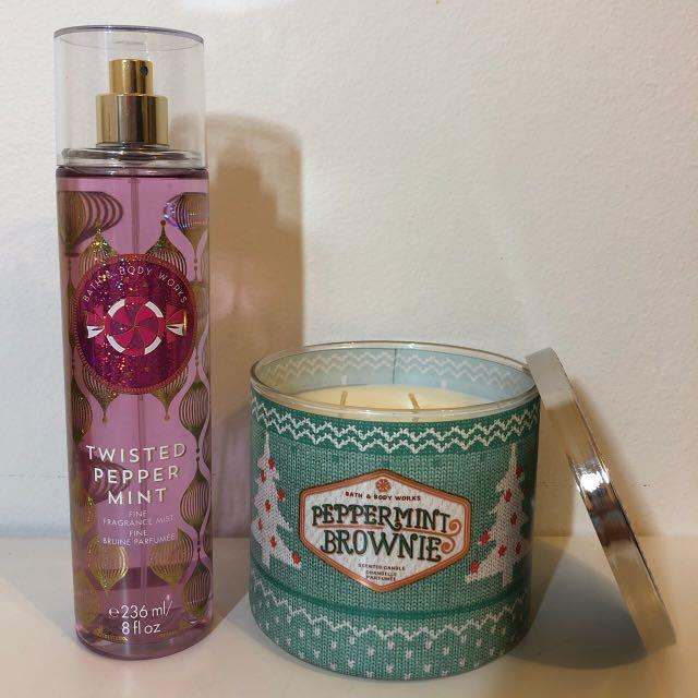 Bath & Body Works Set - Peppermint Brownie & Twisted Peppermint