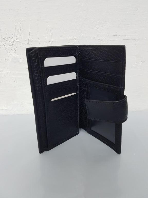 Brand New Unisex Women's or Men's Snap Closure Trifold Cowhide Pebbled Leather Wallet (Black) [FINAL CLEARANCE]