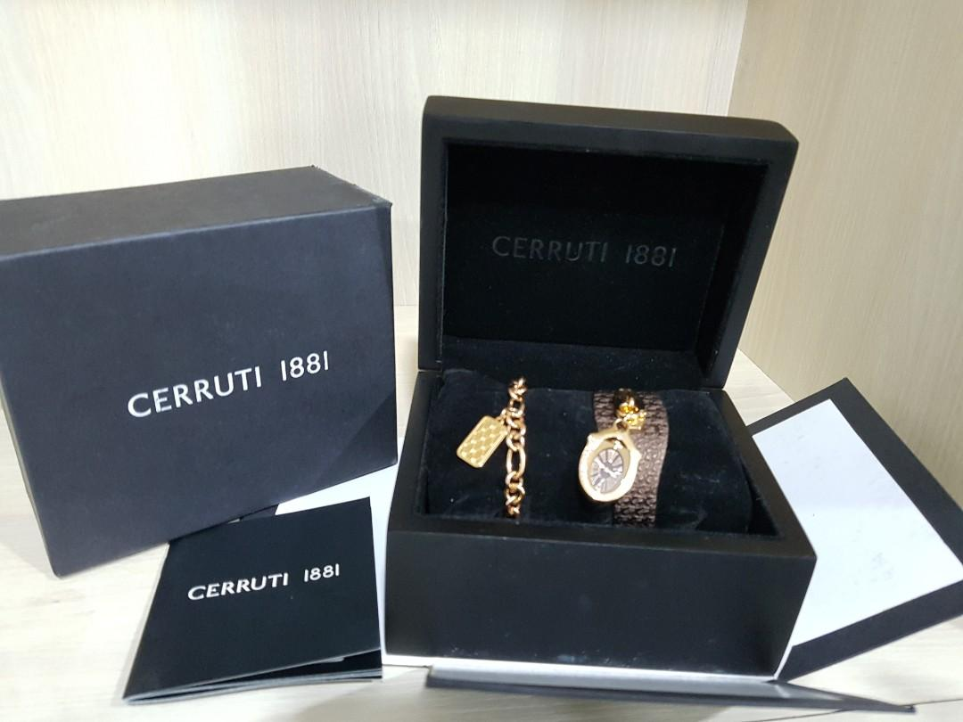 Cerruti 1881 Ladies wristwatch rose gold brown leather with extra rose gold chain