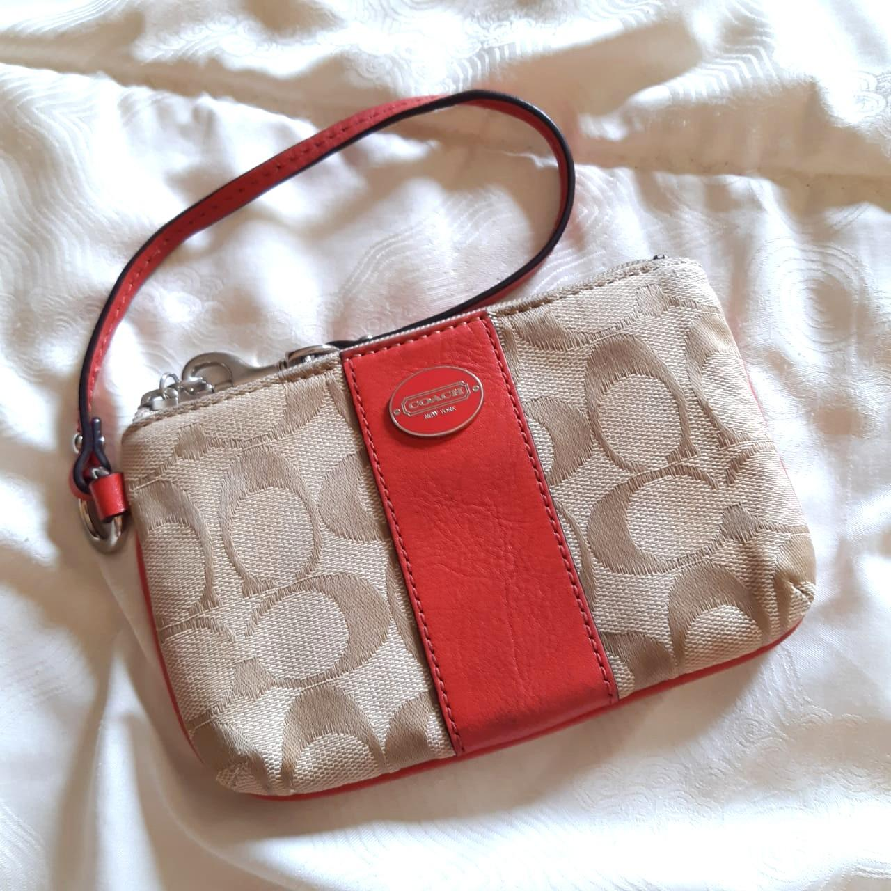 Coach signature small pouch orange leather lining ORIGINAL from store (preloved CLEAN / no stain)