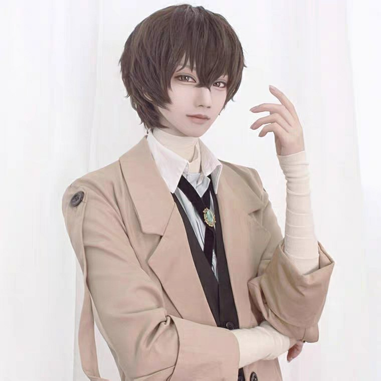 【cosplay王國】文豪野犬 太宰治 棕黑 自然微捲 cos假髮 現貨