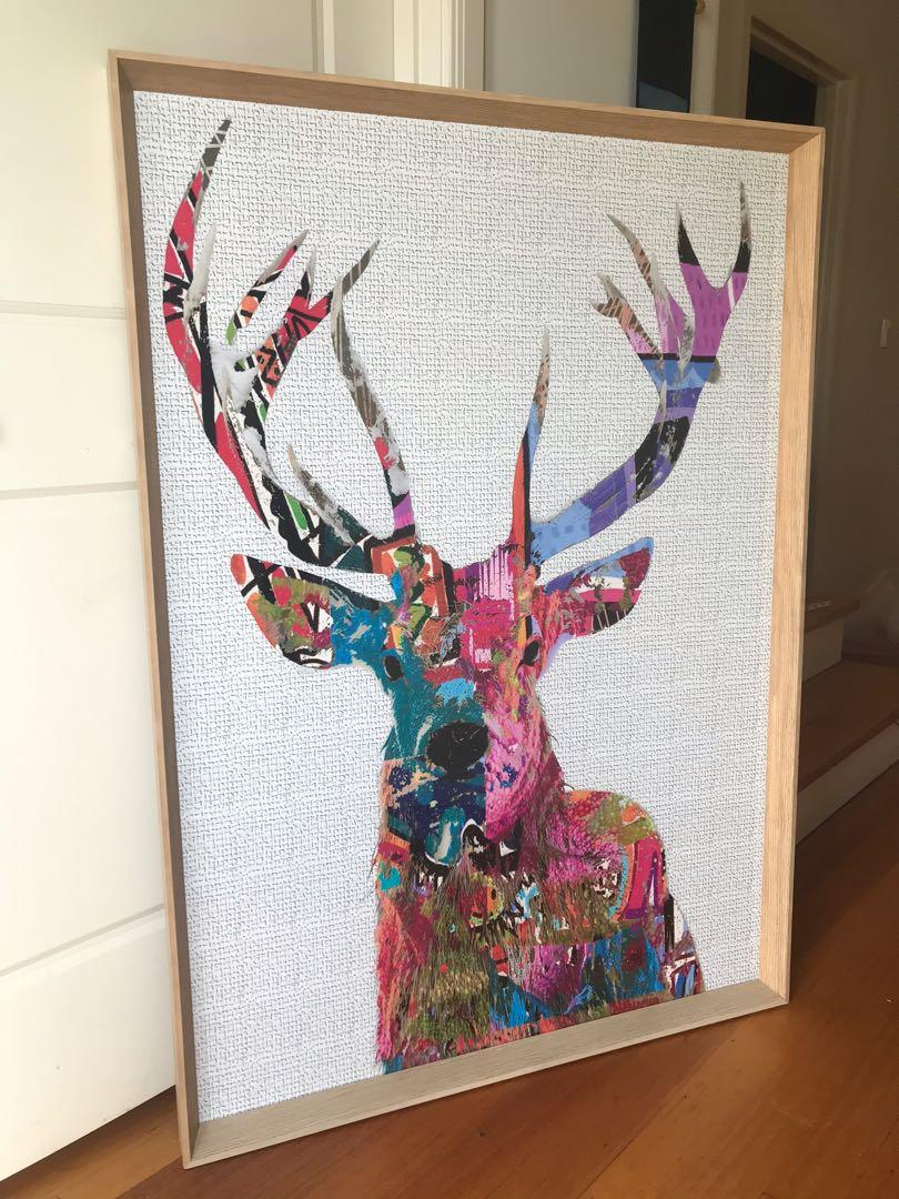 Dandy deer print framed oak frame matt blatt Harvey Norman