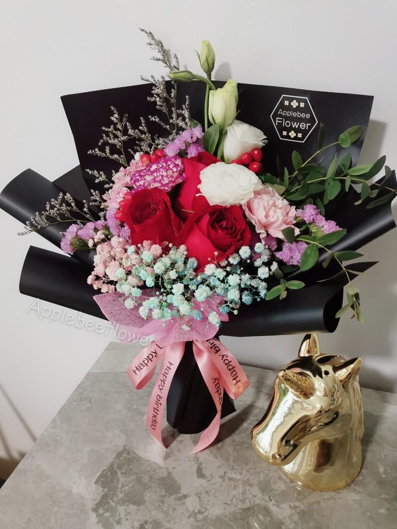 Flower Bouquet Birthday Surprise Rose Flowers Anniversary Surprise Gift Gardening Flowers Bouquets On Carousell