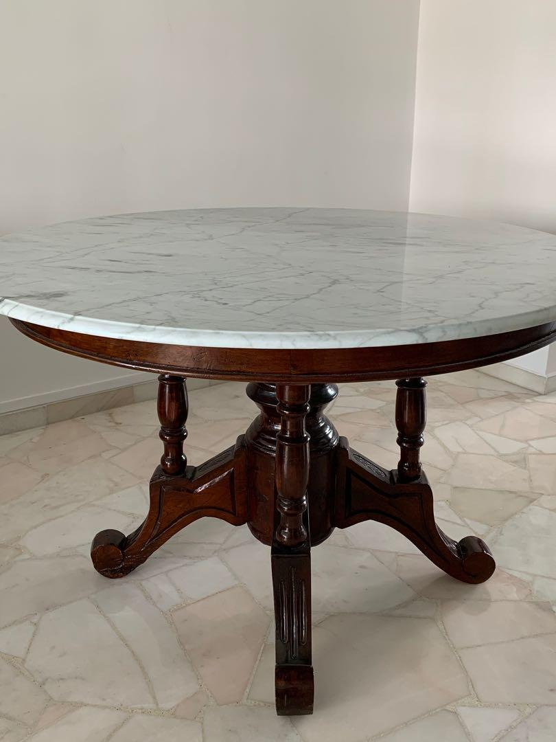 Vintage Marble Dining Table 1 2m Diameter Furniture Tables Chairs On Carousell