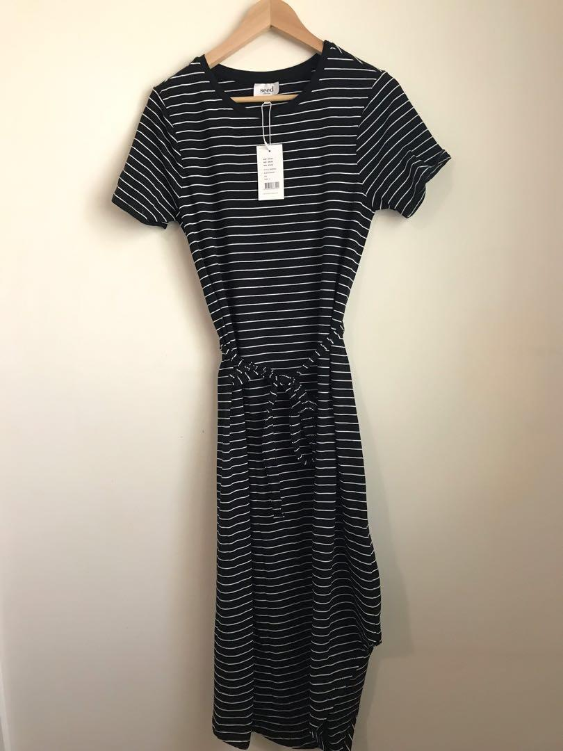 NWT RRP 79.95. Seed Heritage asymmetrical jersey dress