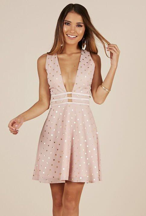 One Last Night Dress in blush polkadot Showpo New Size 10 Medium