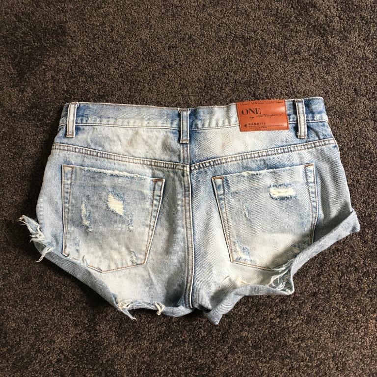 One Teaspoon Bandits Light Blue Denim Shorts Size 26 Festival Party Summer