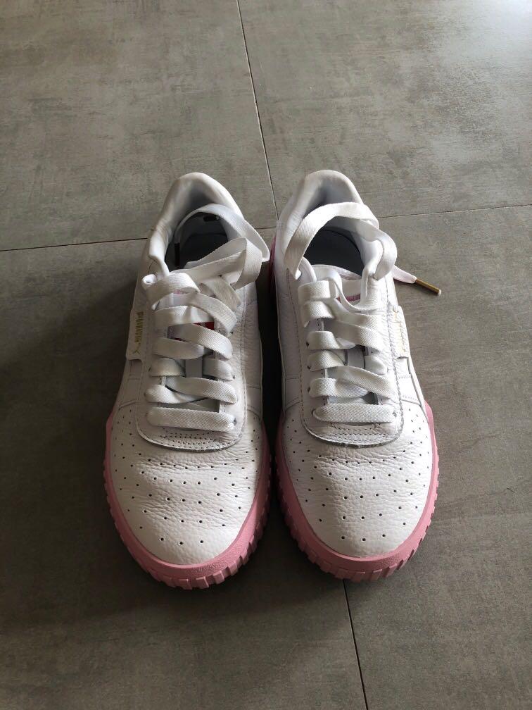 Puma Cali White \u0026 Pink Sneakers, Women