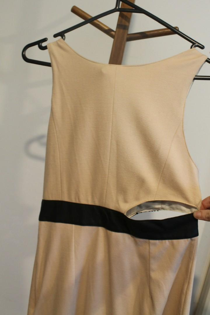 S - Kuku - Cutout Waist Beige Dress w Detail Black Sequined Chest