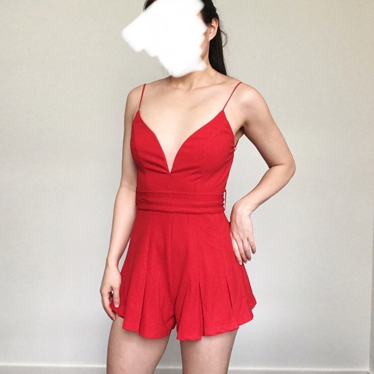 Saints + Sinners Backless Red Pleated Playsuit Size 8 Bow Belt Party Cocktail
