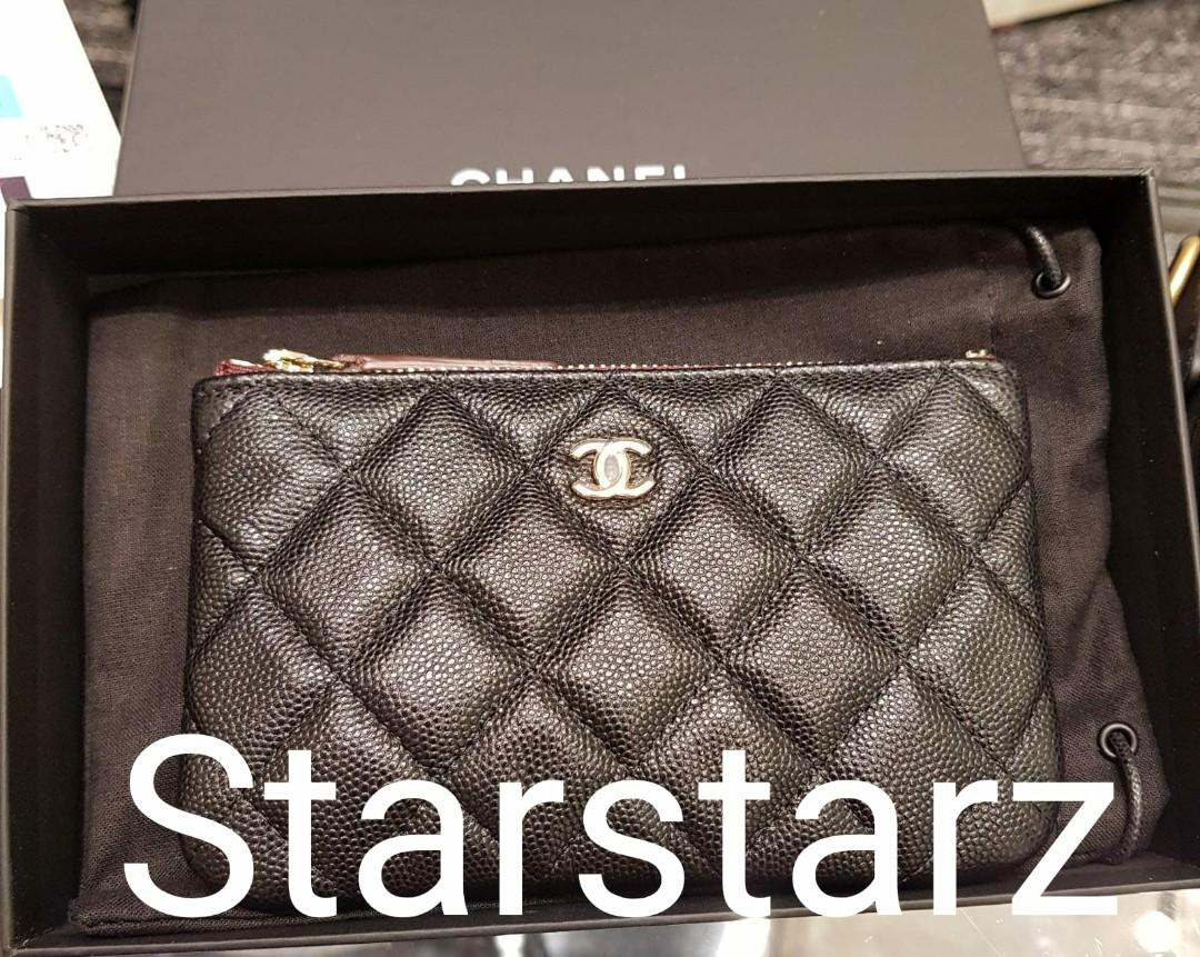 ♦Rare & Highly sought aft! 20C Authentic Chanel black cavair mini ocase wallet purse (spacious 30-40 cards)