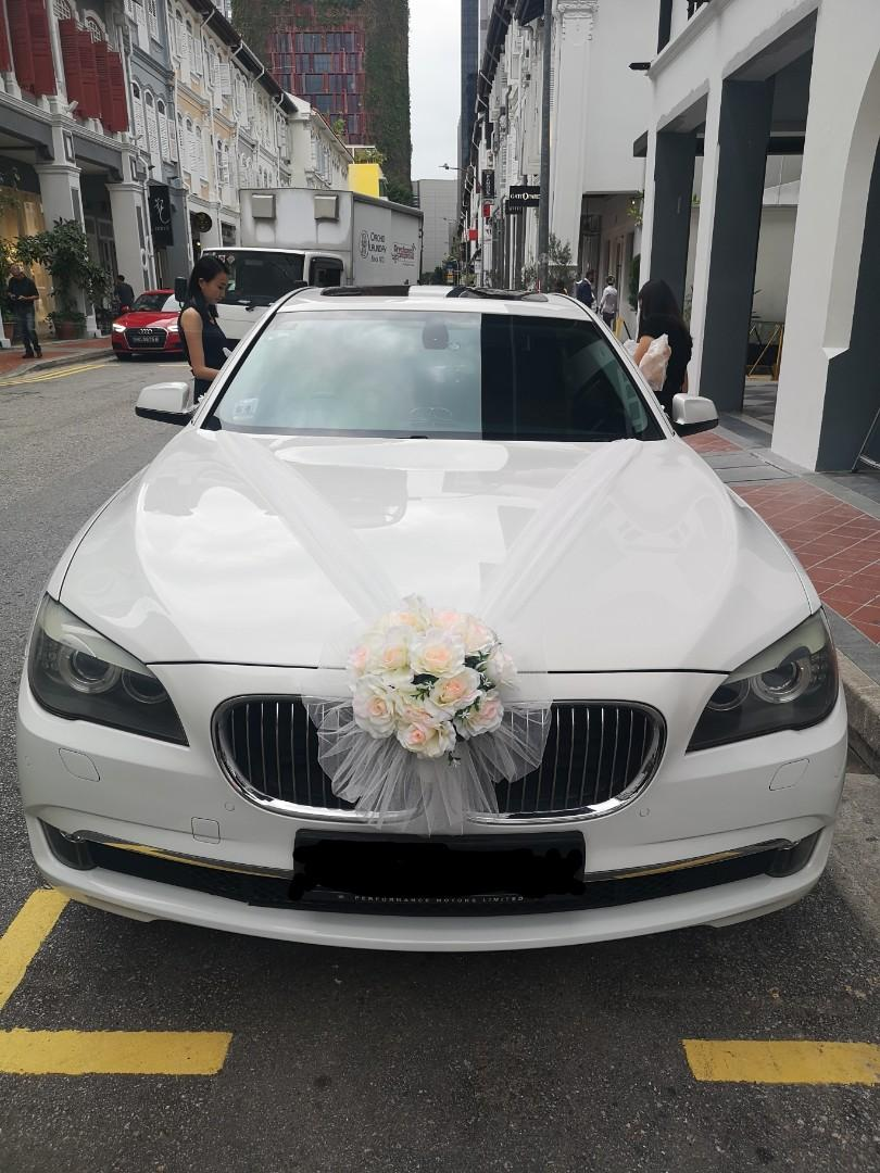 Wedding Car 2020 White BMW 7 series Bridal Car for rent.