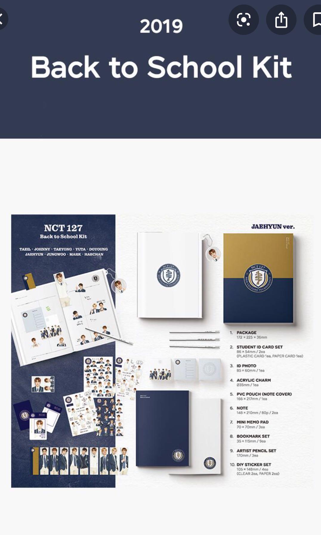 [WTB] nct 127 back to school kit full set ( TAEYONG )