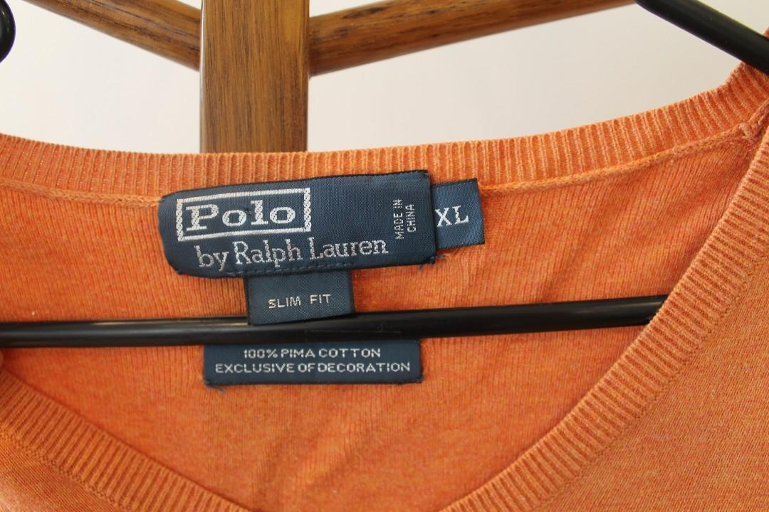 XL - Polo by Ralph Lauren - Men's Orange Top/Jumper
