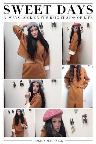 減齡女神范卡其黃太空棉套裝