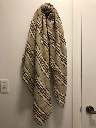 Aritzia Wilfred Beige Wool Blanket Scarf