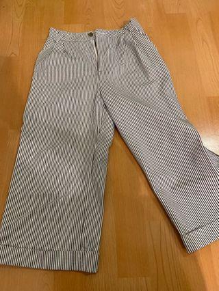 條紋 黑白 寬褲