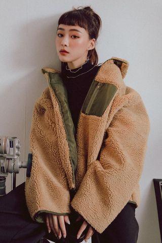 秋冬 仿真羊羔毛毛 高領 撞色 保暖 外套 咖啡 卡其色