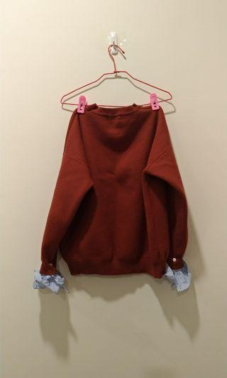 韓貨厚針織磚紅色設計感袖口 #出清2019
