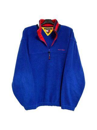 Tommy寶藍色刷毛立領上衣