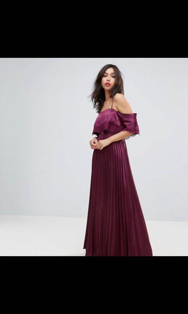 ASOS Satin Pleated Cami Lace Trim Crop Top Maxi Dress