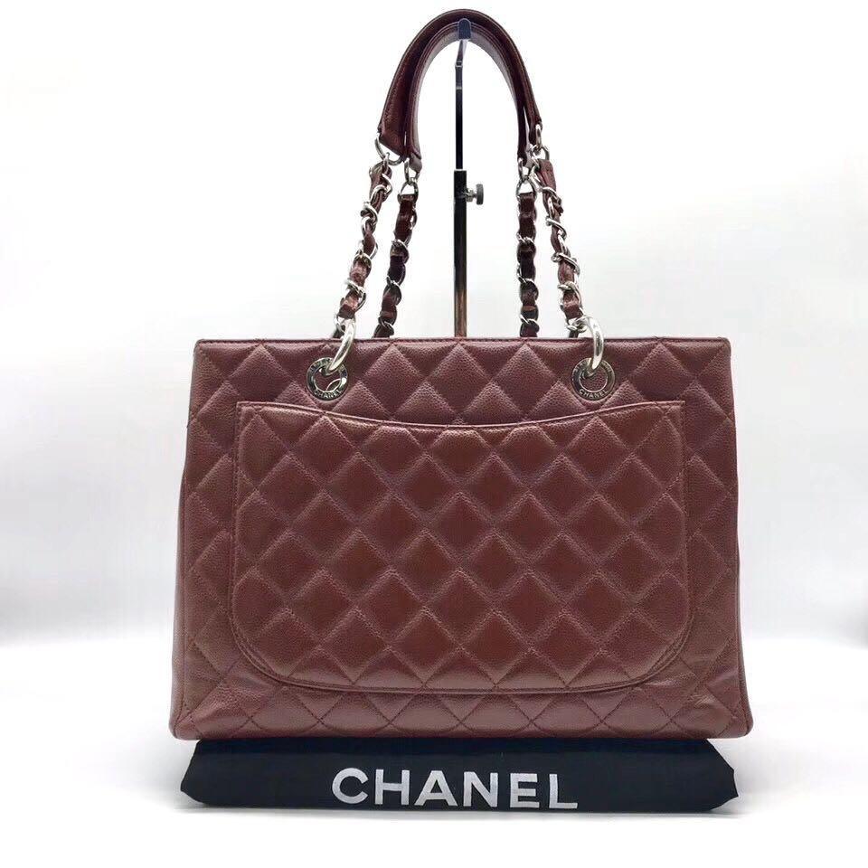 Authentic Pre-loved Chanel Burgundy Caviar Leather GST Grand Shopping Tote