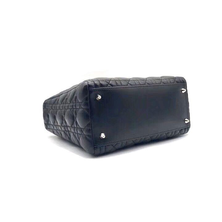 Authentic Pre-loved Christian Dior Black Lambskin Medium Lady Dior Bag SHW