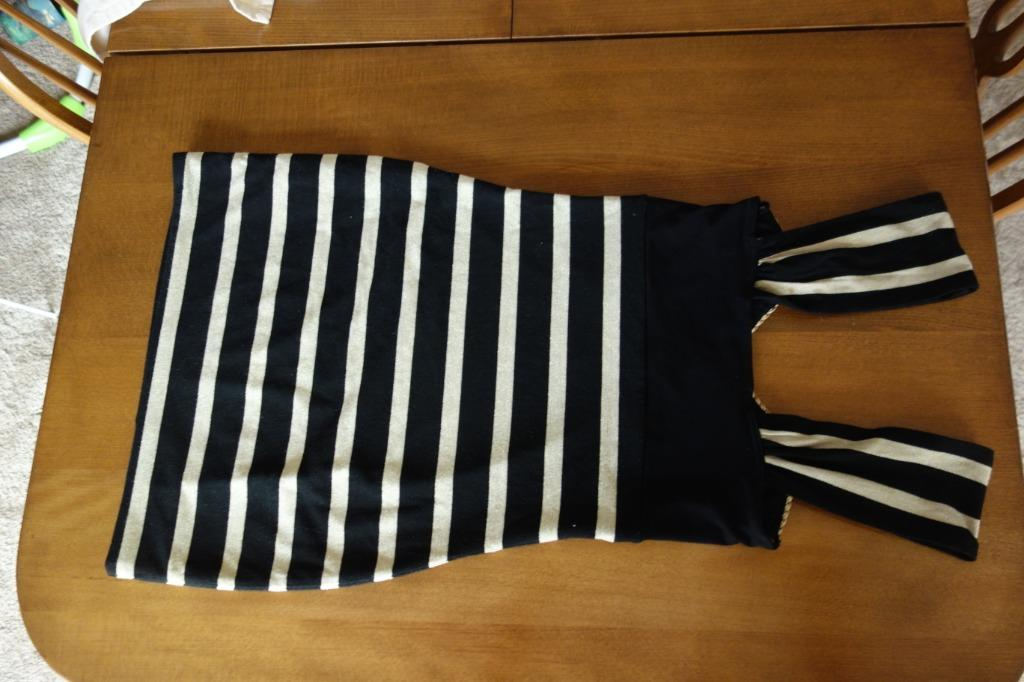 Black and gold stripe party dress. Small size. Price Negotiable.