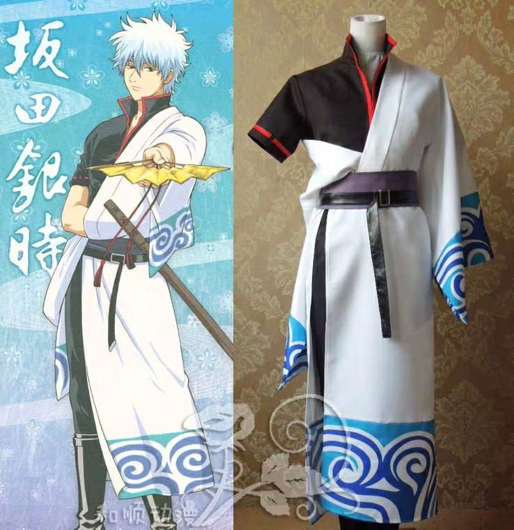 動漫cosplay銀魂銀桑白夜叉坂田銀時阿銀常服和服cos衣服男裝套裝