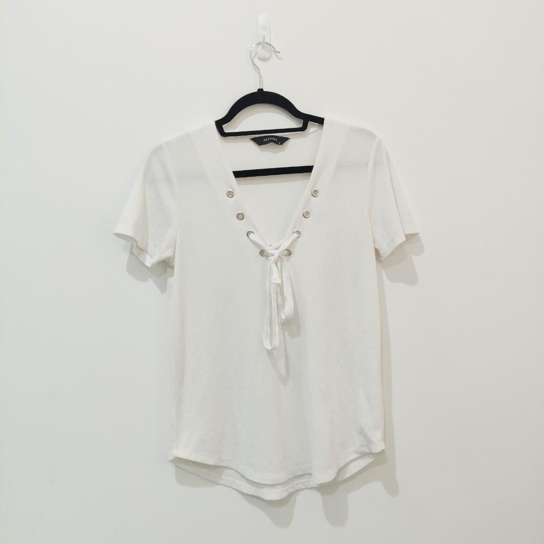 Decjuba White Lace Up Front Ribbed Top / Shirt AU Size S Small