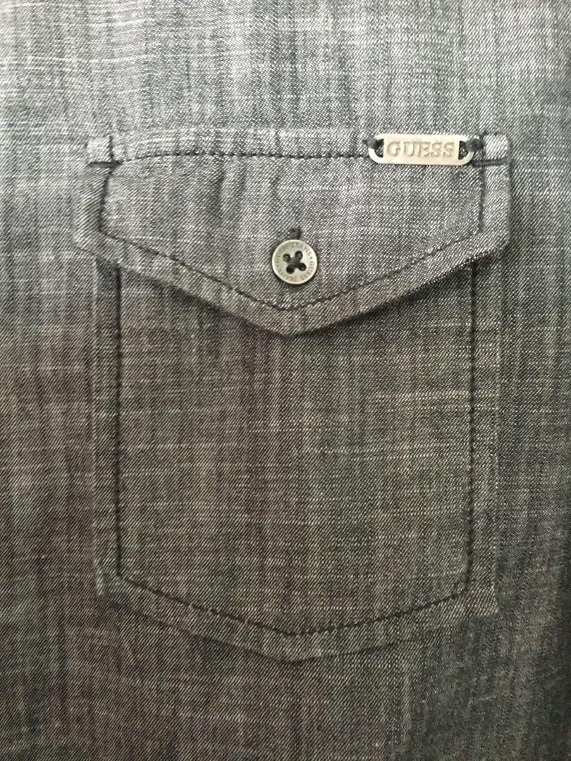 GUESS, men's charcoal grey button shirt size Medium (M) EUC Like new!
