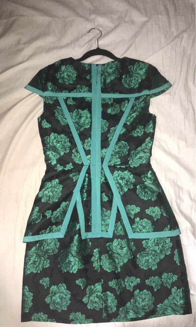 Keepsake The Label Green & Black Jacquard Floral Print Peplum Dress Size Small
