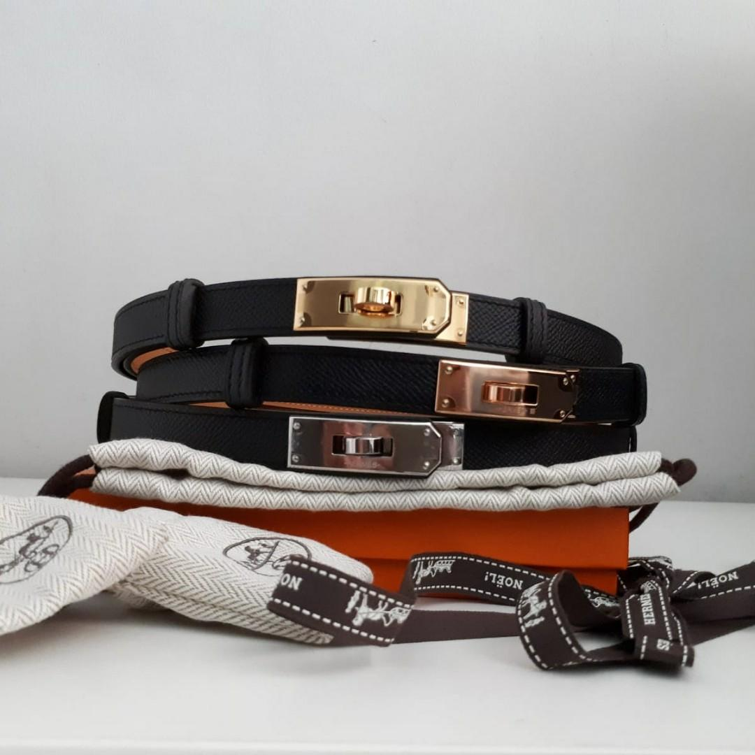 New Hermes Black Epsom Kelly Belts (1 size fits all adjustable). Available in GHW, RGHW, and PHW