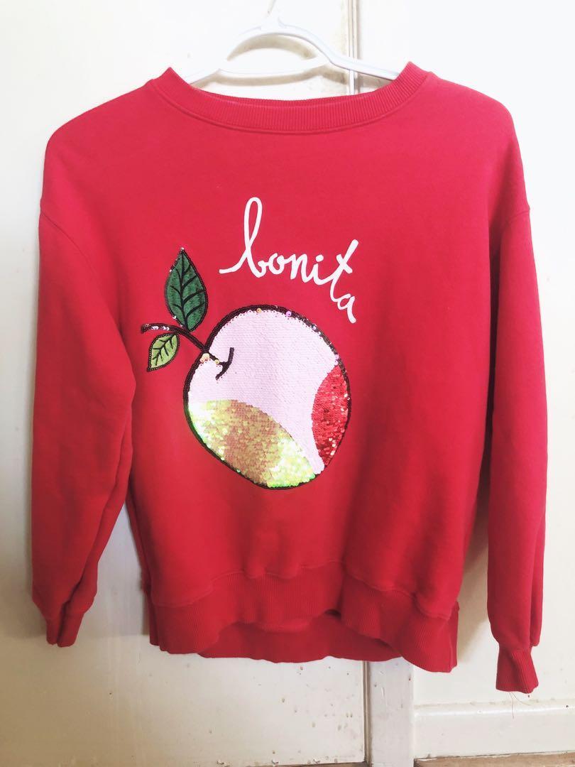 "Red Soft ""Bonita"" Sweatshirt with Peach Sequins Design"