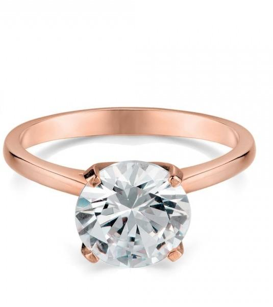 Rose Gold Plated Solitaire Engagement Ring in Sterling Silver (Size 5)
