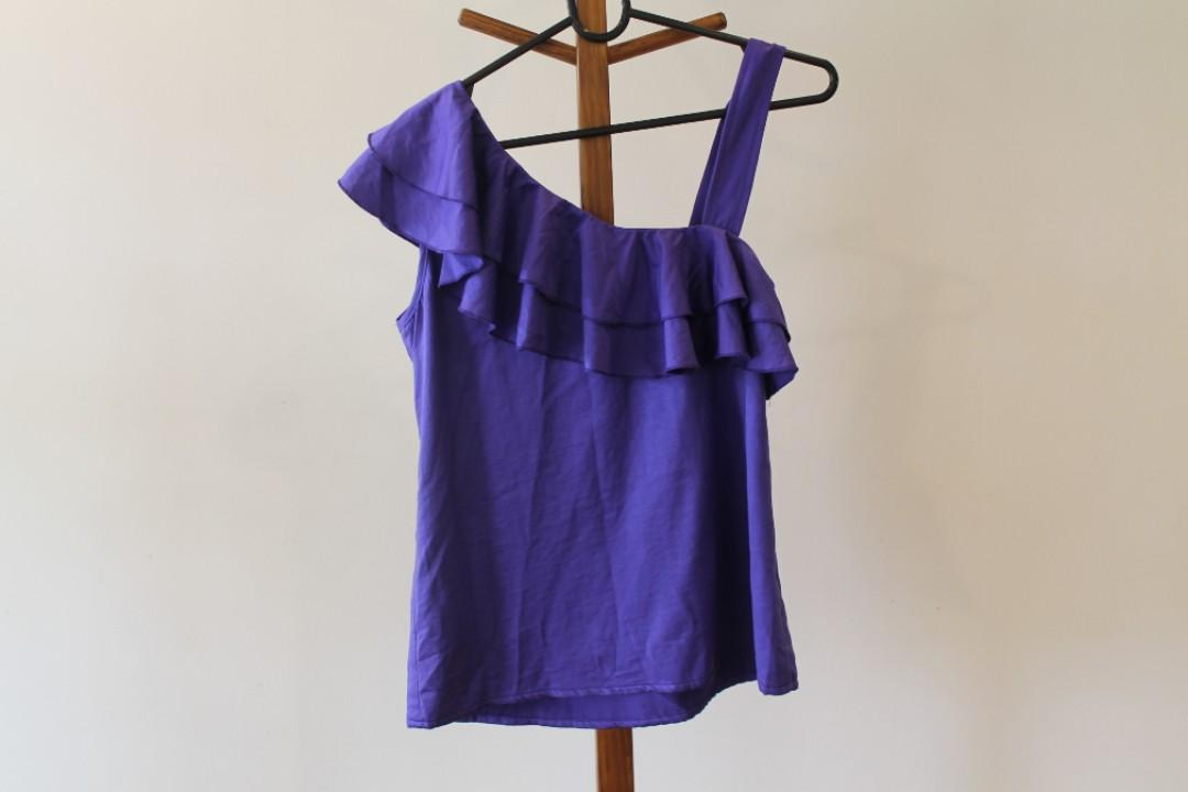 S - Difeni - One-Shouldered Singlet With Frilled Detail