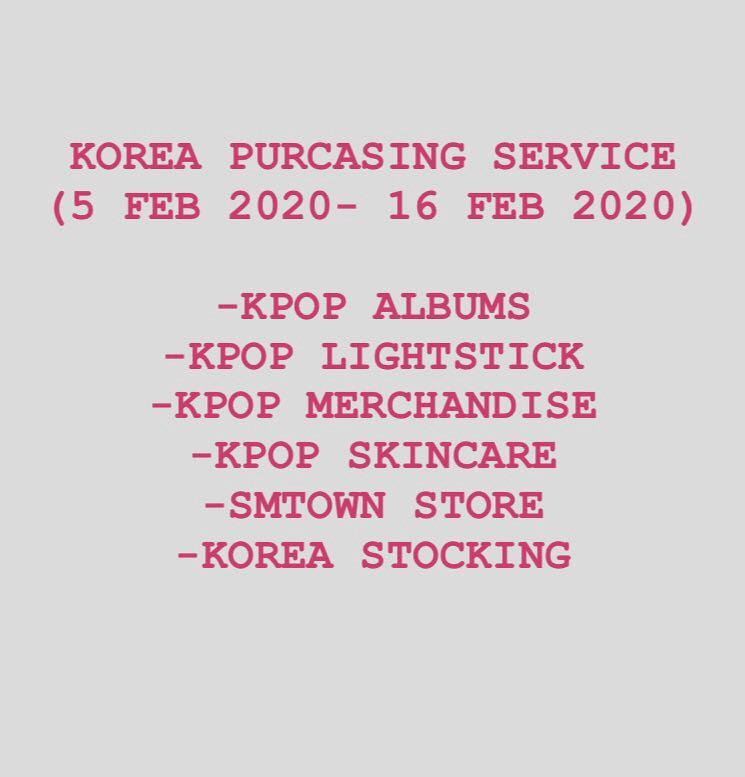 KOREA PURCHASING SERVICE  ( EXO / BTS / SVT/ IKON / GOT7/ SJ/ RED VELVET/ WINNER/ TWICE / IZONE/ SEVENTEEN/ BLACKPINK AND ETC)