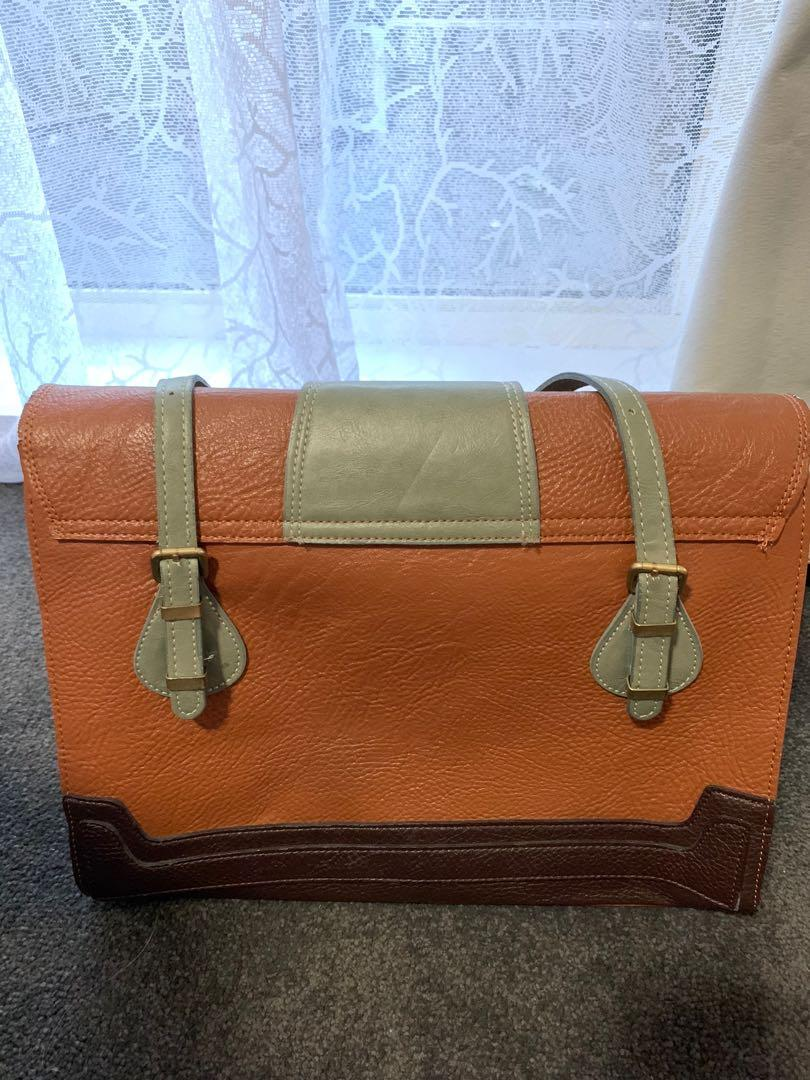 Stylish faux leather bag - brown / dusty green / office bag