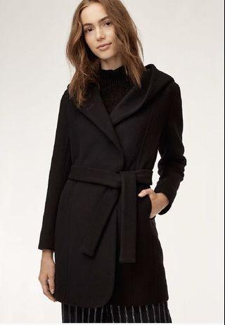 Wilfred Wool Coat - Black with Hood and Belt