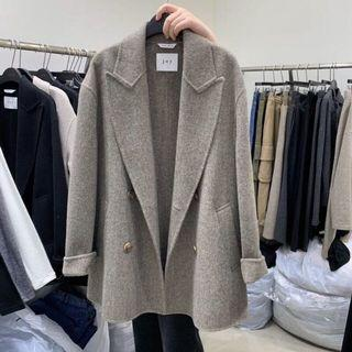 正韓 韓製 全新設計師品牌joy手工羊毛大衣 咖