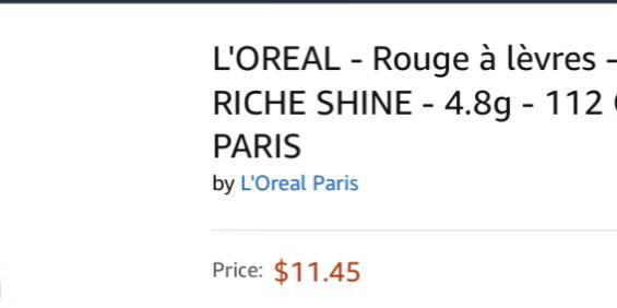 💄 L'OREAL - COLOR RICHE SHINE - 4.8g - 112 ONLY IN PARIS 💄new, sealed.