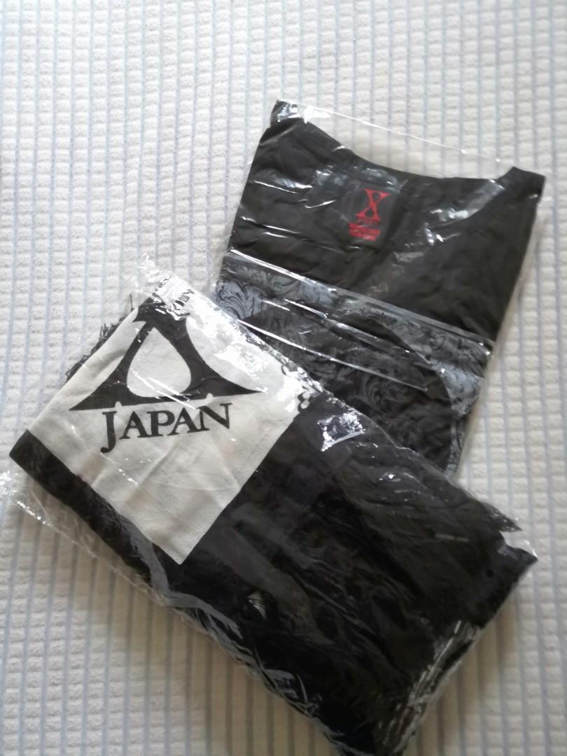 兩件 一 set Authentic XJapan  2015 - 2016 World Tour Tee/ T-shirt  size S and throw / scarf 黑白色 頸巾 / 圍巾 X-Japan Jrock lovers black and white 日本