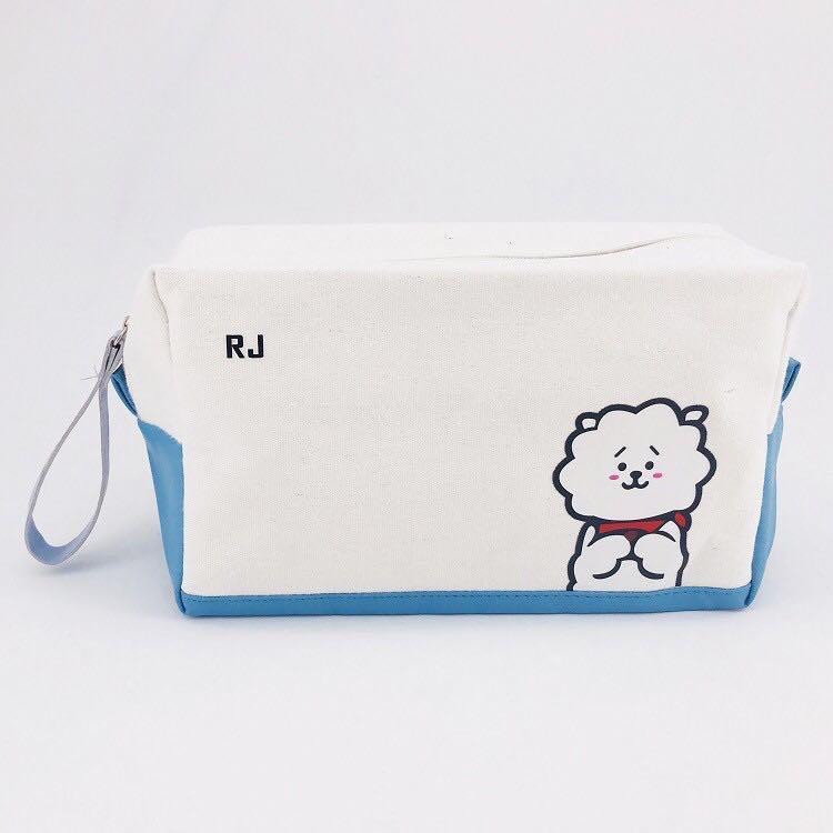 BT21 BTS Cute Giant White Canvas Pencil Case / Pencil Box / Pouch / Cosmetics Bag