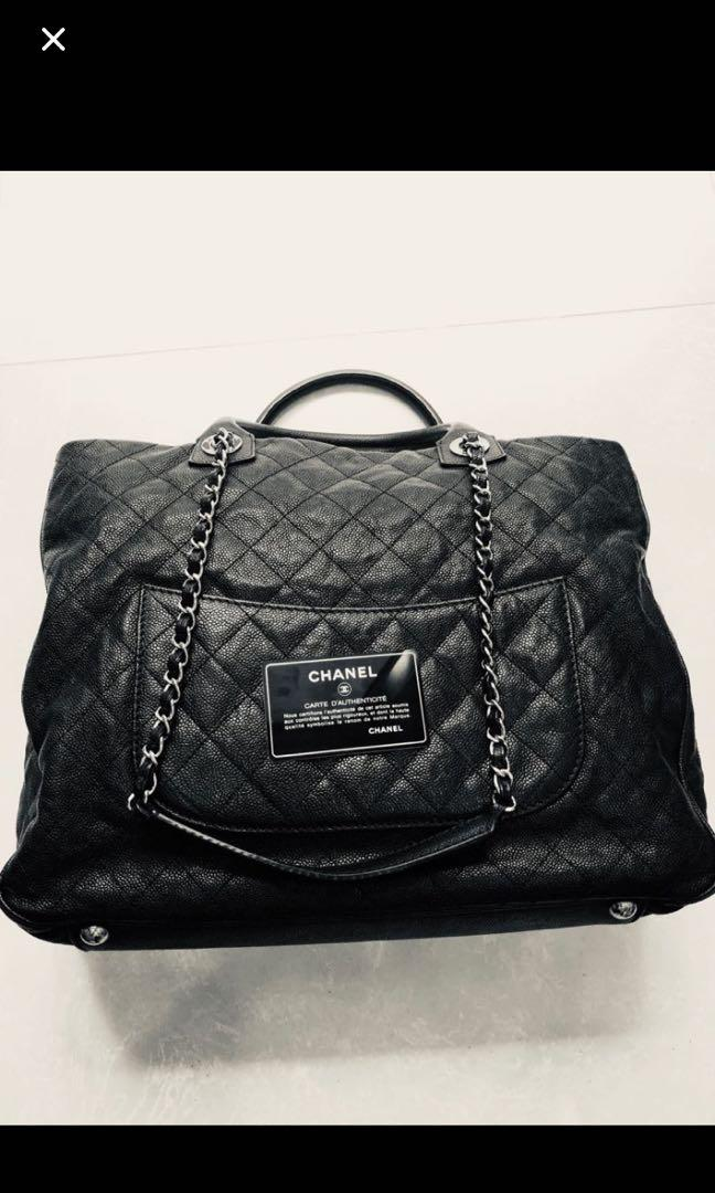 Chanel Large Shiva Black Caviar Silver Hardware 100% Authentic Full Set Classic Shopping Tote Quilted Metallese 30cm