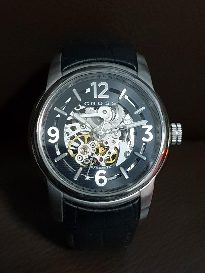 Cross Palatino Men's Automatic Watch with Black Dial Analogue Display and Black Leather Strap