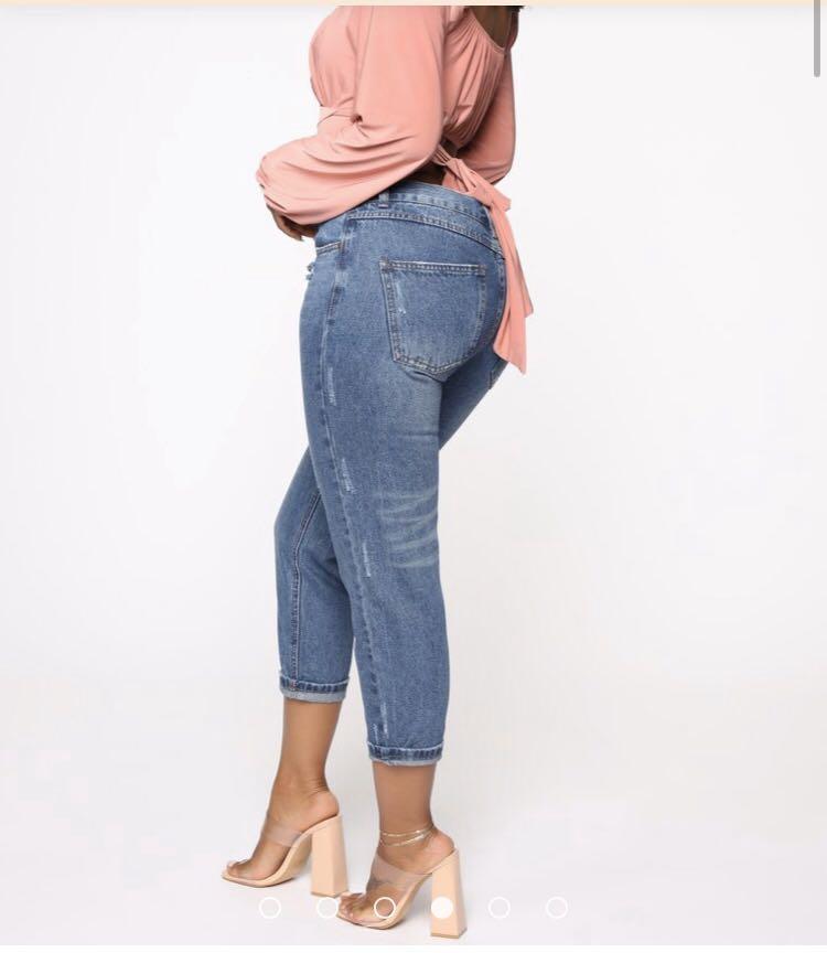 Fashion nova boyfriend denim jeans sz 10 hi rise blue wash